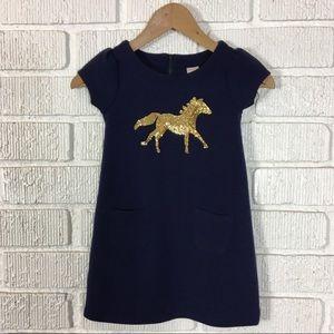 3/$30 GYMBOREE Navy knit dress sequin horse 5